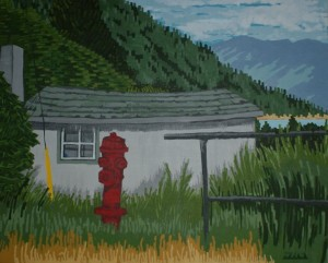 Kootenay Shack, acrylic on canvas, 24 x 30 inches, $250.00