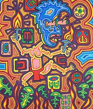 Mayan and Huichol inspired paintings