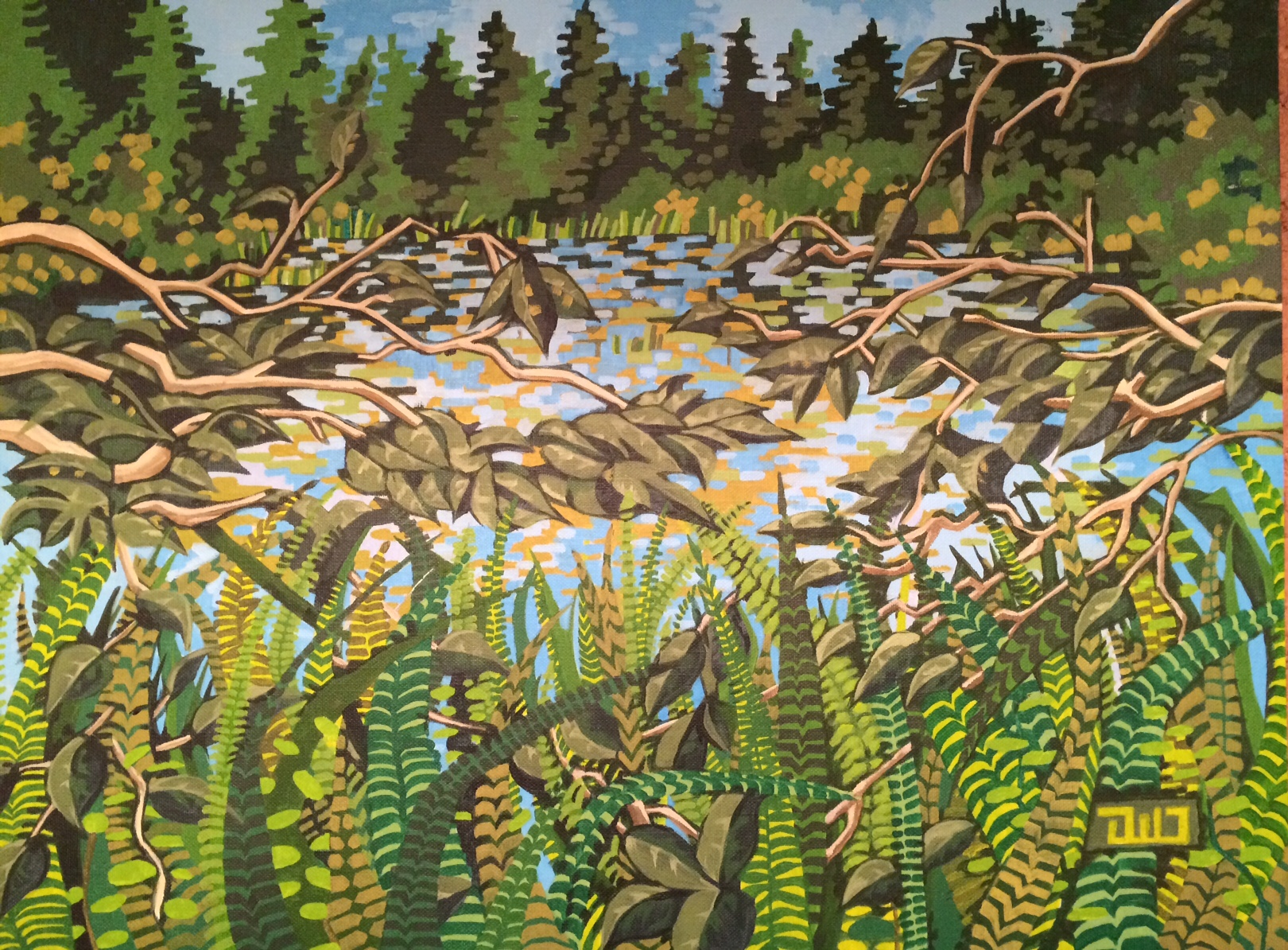 Beaver Lake, acrylic on paper, 18 x 24, 2014