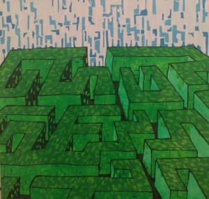 Maze, acrylic on canvas, 2012, 12 x 12.