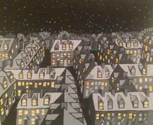 Suburban Night Maze, 2014, acrylic on paper, 16 x 20 inches