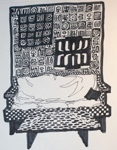 Elevated Sleeping Bag, pen and ink illustration, 1993.