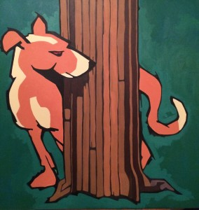 Dog Redux, acrylic on canvas, 2014. 30 x 30 inches, framed $250.00